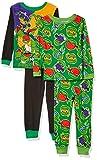 Nickelodeon Boys' Little Teenage Mutant Ninja Turtles 4-Piece Cotton Pajama Set, TMNT Power, 6