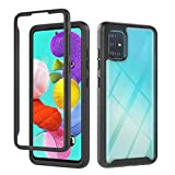 Fanxwu Cover Compatible con Funda Samsung Galaxy A71 4G/A715 Case 360°Protección Transparente Trasera Cover con Protector de Pantalla Anti-rasguños Carcasa - Negro/Claro