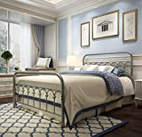 Metal Bed Frame Full Size with Vintage Headboard and Footboard Platform Base Wrought Iron Double Bed Frame Gray Sliver (Full, Gray Silver)