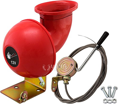 Vixen Horns Loud Raging Bull Sound Electric Horn Trumpet with Pull Lever Red 12V VXH1004