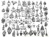 Kinteshun Assorted Halloween Hallowmas Theme Charm Pendant Connector for DIY Jewelry Making Accessaries(60pcs,Tibetan Silver Tone)