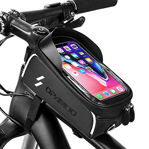 Bike Bicycle Phone Bags Waterproof - Front Frame Top Tube Mount Handlebar Bags with Touch Screen Phone Holder Case Sports Bicycle Bike Storage Bag Cycling Pack Fits 6.5''iPhone 7 8 Plus xs max (Grey)