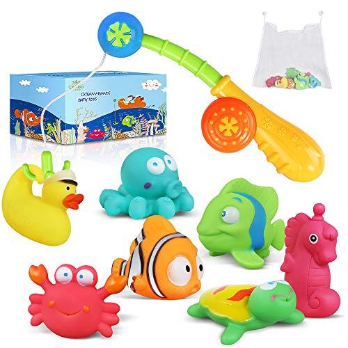 Lehoo Castle, giocattolo per il bagno per bambini a partire da 1 anno, giocattolo per vasca da bagno con rete portaoggetti e canna da pesca, gioco d'acqua, 9 pezzi