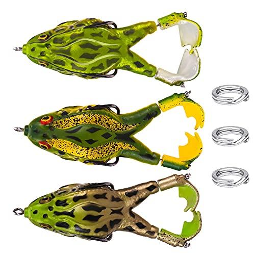 Jooheli 3 Pezzi Esche Rana,Artificiali Silicone Pesca Esca Artificiale a Doppia Elica,per Tutti i Tipi di Pesce per Trota,Pesce Persico,Luccio,Cavedano