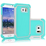 Tekcoo for Galaxy S6 Case, [Tmajor Series] [Grey/Turquoise] Shock Absorbing Hybrid Rubber Plastic Impact Defender Rugged Slim Hard Case Cover Shell for Samsung Galaxy S6 S VI G9200 GS6 All Carriers