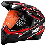 MotorFansClub Motorcycle Modular Full Face Helmet Off-Road Dirt Bike Motorcycle Helmet with Flip Up Visor Sun Shield Fit for Compatible with Adult (Red, X-Large)