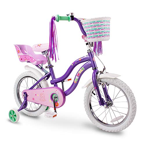 COEWSKE Kid's Bike Steel Frame Children Bicycle Little Princess Style 14-16 Inch with Training Wheel (Purple, 14 Inch)
