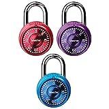 Master Lock 1533TRI Locker Lock Mini Combination Padlock, 3 Pack, Assorted Colors