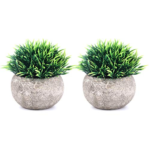 THE BLOOM TIMES 2 Pcs Fake Plants for Bathroom/Home Office Decor, Small Artificial Faux Greenery for House...