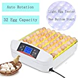 Egg Incubator Digital Automatic Poultry Hatch Egg Turning,Eggs Incubators Fertilized Chicken Duck Quail Bird Eggs for Hatching (32 Egg Incubator) [US Stock]