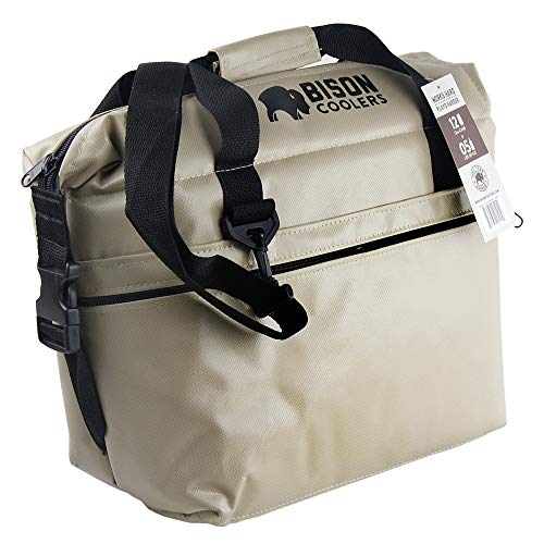 BISON COOLERS Soft Sided Insulated 12 Can Cooler Bag | Tear Proof Ice Chest for Beverages or Food |...