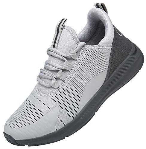 KOUDYEN Zapatillas Running Hombre Mujer Zapatos para Correr y Asfalto Aire Libre y Deportes Calzado Ligero Transpirable Sneaker XZ476-LightGrey-EU40