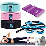Invincible Fitness Women Yoga Bundle | 12 Loops Stretching Strap, 3 Hip Booty Bands, Core Resistance Band | Perfect for Training, Exercise, Pilates and Physical Therapy | Home Gym Workout Gear
