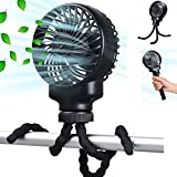 Mini Handheld Stroller Fan - Flexible Tripods Clip On Fan, Rechargeable 2000mAh Battery Operated or USB Fan, Portable Personal Fan with 3 Speeds and Rotatable for Car Seat Crib Travel Bike Treadmill