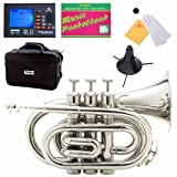 Mendini MPT-L Gold Lacquer Brass Bb Pocket Trumpet + Tuner, Case, Stand, Mouthpiece, Pocketbook & More