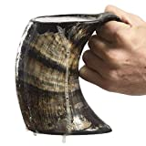 AleHorn Drinking Horn Tankard with Handle- L - Genuine Handcrafted Beer Mug for Ale, Mead - Food Safe - Medieval Style Inspired by Game of Thrones - Great Gift