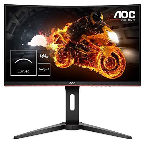 AOC C24G1 Monitor Gaming Curvo da 24', Pannello VA, FHD 1920 x 1080 a 144 Hz, 1 Porta D-SUB, 2 Porte HDMI, 1 Porta Display, Tempo di Risposta 1 msec, Nero