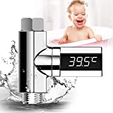Innens LED Display Shower Thermometer, Home Water Shower Celsius Monitor Water Flow Self-Generating Electricity Shower Temperature Meter for Baby Care (Silver)