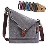 AmHoo Canvas Crossbody Bag for Women Genuine Leather Messenger Purse Handbags Shoulder Bag Hobo Totes Unisex,Gray