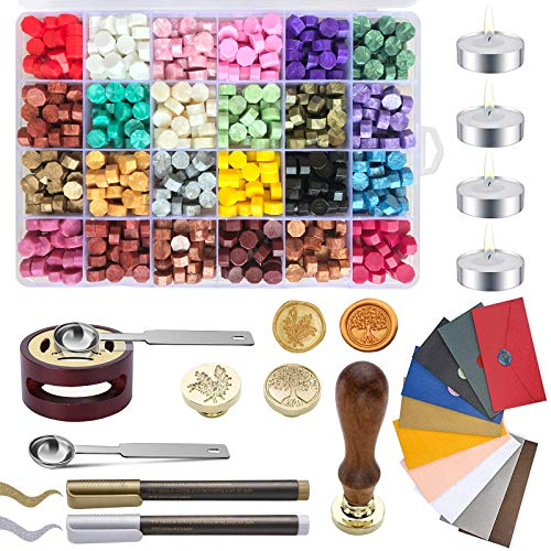 Wax Seal Stamp Kit, Wax Sealing Kit with 648 Pieces Sealing Wax Beads, 2 Wax Stamps, 4 Candles, 10 Vintage Envelopes,2 Spoon and 1 Warmer, 2 Metal Pens, Ideal for Wedding Invitations, Gift Wrapping