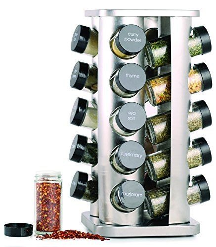 Orii 20 Jar Stainless Steel Spice Organizer Rack Filled with Spices - Rotating Standing Rack Shelf Holder &...