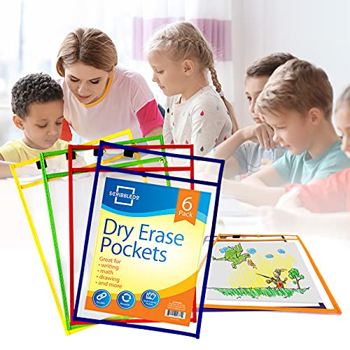 Scribbledo Dry Erase Pockets, 6 Pack Reusable Dry Erase...