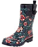 Capelli New York Ladies Spring Floral Printed Rain Boots Navy Combo 7