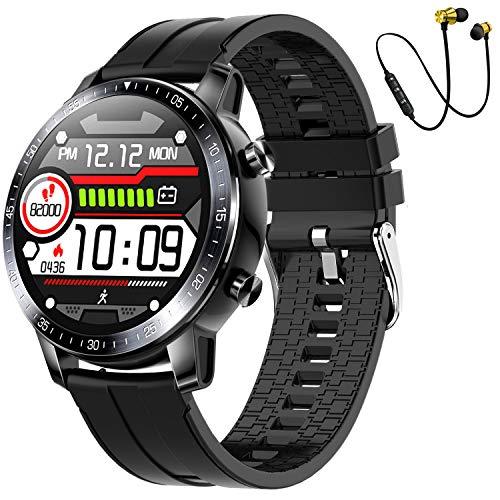 Smartwatch,Reloj Inteligente Fitness Tracker Hombres Mujeres Niños Impermeable IP68 Muñeca Pulsómetros Podómetro Caloría Pulsera de Actividad Reloj Deportivo para Android iOS (marrón) (Negro)