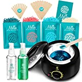 Yeelen Waxing Kit Wax Warmer Wax Beads Hot Wax Hair Removal with 4 packs Hard Wax Beans and 20 Wax Applicator Sticks for Men Women Face Eyebrows Legs Brazilian