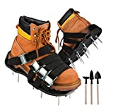 GARDENKORE Lawn Aerator Shoes -Heavy Duty Spiked Sandals w/ 8 Double Layer Metal Buckle Straps, 3 Gardening Tools w/Shovel to Clean Shoe After Aeration -Comfortable Walking Tool for Aerating Grass