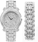 Bling-ed Out Round Luxury Mens Watch with Color Dial and Bling Bling Diamond Time Indicators w/Bling-ed Out Matching Bracelet - L0504DXB (Silver/Silver)
