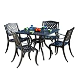 Marietta Outdoor Furniture Dining Set, Cast Aluminum Table and Chairs for Patio or Deck (5-Piece Set)
