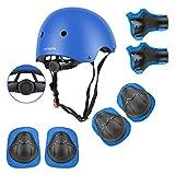 Wayin Conjuntos de Patinajes Niños Protecciones Patines Infantiles con Casco Ajustables Rodilleras y Coderas para Skate Bicicleta Monopatín Deporte(Azul)