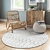 nuLOOM Moroccan Blythe Area Rug, 5' Round, Grey/Off-white