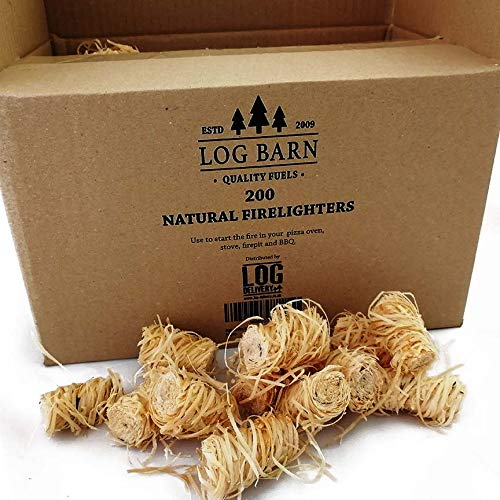Eco Natural Wood Firelighters200lana di legno Flame Fire Starters per box. Ideale per illuminazione incendi in stufe, barbecue, forni pizza & fumatori