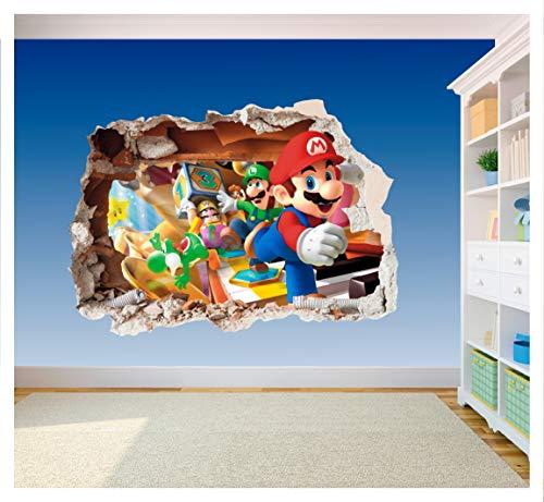 Gedruckter Vinyl-Aufkleber fürs Kinderzimmer, Super Mario Brothers, Loch in der Wand, 3D-Smash (SS40014), Supersize 1200 x 855mm