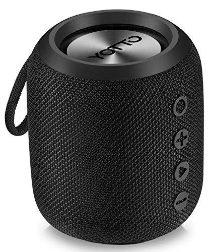 YOTTO Tragbarer Kabelloser Bluetooth 4.2 Lautsprecher IPX6 Wasserdicht Starkem Bass, 12W HiFi Stereo Sound, TWS, Eingebautes Mikrofon, Freisprecheinrichtung, TF Kartensteckplatz, FM Radio
