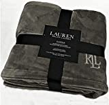 Ralph Lauren Classic Charcoal Gray Micromink Plush All Season Blanket | Full/Queen 90' x 90' | Machine Wash, Tumble Dry