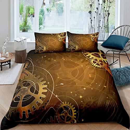 Loussiesd Industrial Bedding Set Clock Theme Gears Duvet Cover for Kids Boys Vintage Steampunk Style Comforter Cover Mechanical Gearwheel Bedspread Cover with 1 Pillowcase 2Pcs Single Size