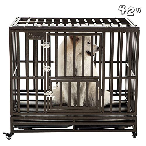 SMONTER 42' Heavy Duty Strong Metal Dog Cage Pet Kennel Crate Playpen with Wheels, I Shape, Brown …