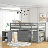 Kids Loft Bed with Rolling Portable Desk/Storage Shelf/Guard Rail/Cabinet of Drawers for Bedroom and Dormitory Twin