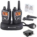 Midland - X-TALKER T71VP3, 36 Channel FRS Two-Way Radio - Up to 38 Mile Range Walkie Talkie, 121 Privacy Codes, NOAA Weather Scan + Alert (Pair Pack) (Black/Silver)