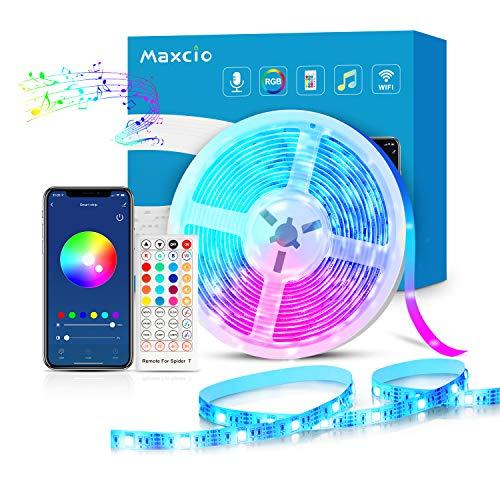 Smart Led Strip Streifen 5M kompatibel mit Alexa, Google Home, Maxcio Wlan RGB LED Streifen Band Beleuchtung mit Fernbedienung, WiFi Musik Leiste Lichterkette für TV, PC, Bett, Smart Home Zubehör