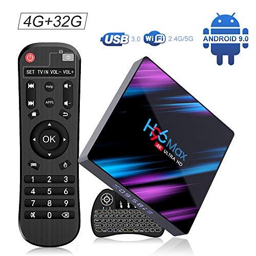 OKEU Android 9.0 TV Box, H96 Max 4GB RAM 32GB ROM with RK3318 Quad-Core Processor ,Support 2.4G/5G Dual WiFi BT4.0 USB3.0 4K Full HD Wireless Mini Backlit Keyboard