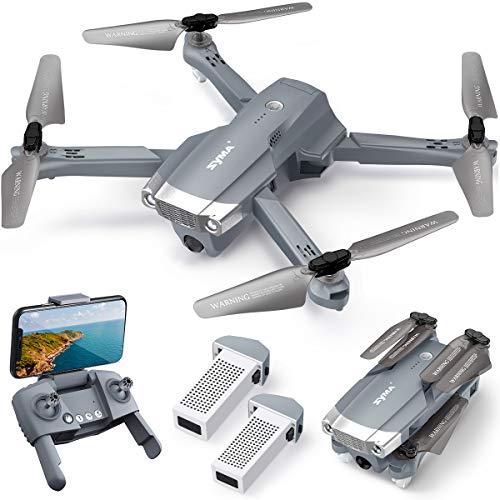 SYMA Drone RC con fotocamera 4K HD pieghevole Quadricottero radiocomandato GPS WiFi Return Home Follow Me, controllo gestuale totale 56 minuti Tempo di volo 2 batterie