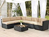 AECOJOY 7 Piece Patio PE Rattan Wicker Sofa Set, Outdoor Sectional Conversation Furniture Chair Set with Cushions and Table, Black…