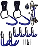 Bike Books & Garage Storage Hooks Set (Blue)- Versatile Bike Wall Mount Hanger & Garage Storage Hook...
