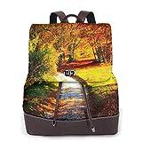 Yuanmeiju Womens Fashion Backpack Wonderful White Road Shoulder Bookbag Leather Laptop Bag Ladies