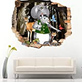 Animal ardilla dormitorio 3D niños habitación vinilo pegatina hombre en pegatinas de pared tierra de madera