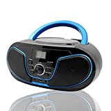 LONPOO Portable CD Player Boombox FM Radio, Bluetooth MP3/CD Player with Aux-in&USB&Headphone Jack, AC Power and DC Battery (Batteries are Not Included)